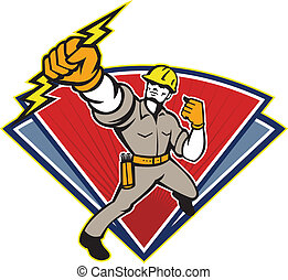 Electrician Punching Lightning Bolt - Illustration of an...