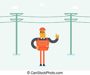Electrician repairing an electric power pole. - Young...