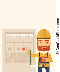 A hipster Electrician wearing hard hat repairing an electrical panel. A Contemporary style with pastel palette, soft beige tinted background. Vector flat design illustration. Vertical layout with text space on the top part.