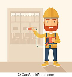 A hipster Electrician wearing hard hat repairing an electrical panel. A Contemporary style with pastel palette, soft beige tinted background. Vector flat design illustration. Square layout.