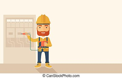 A hipster Electrician wearing hard hat repairing an electrical panel. A Contemporary style with pastel palette, soft beige tinted background. Vector flat design illustration. Horizontal layout with text space in right side.
