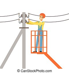 Electrician repairing wire of the power line with bucket hydraulic lifting platform, electric man performing electrical works vector Illustration