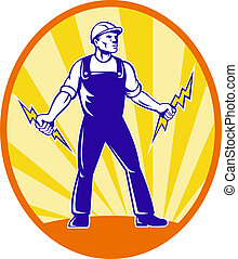 Electrician Repairman Holding Lightning Bolt - Illustration...