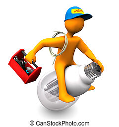 Electrician Rides - Orange cartoon character as electrician,...