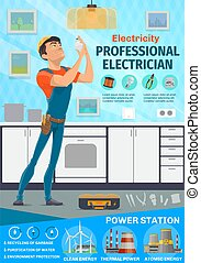Electrician service, power industry. Vector