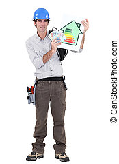 Electrician showing benefits of energy efficiency
