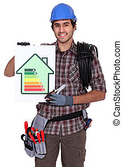 Electrician showing energy rating sign