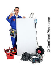 electrician showing phone