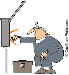 Electrician Sparks - This illustration depicts a man...
