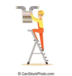 Electrician standing on a stepladder and screwing equipment in fuse box, electric man performing electrical works vector Illustration
