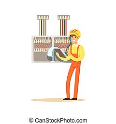 Electrician standing with documents checking electrical equipment, electric man performing electrical works vector Illustration