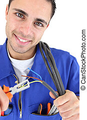 Electrician stripping wire