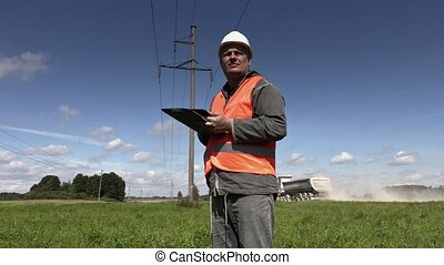 Electrician take high-voltage lines technical inspection