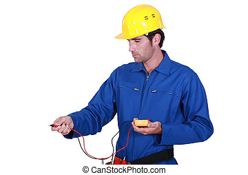 electrician taking reading