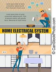 Electrician technician, electricity repair service