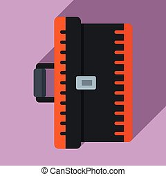 Electrician tool box icon, flat style