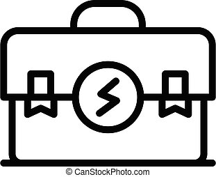 Electrician tool box icon, outline style