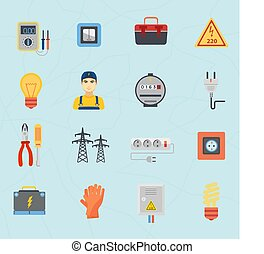 Electrician tools instruments flat icons set