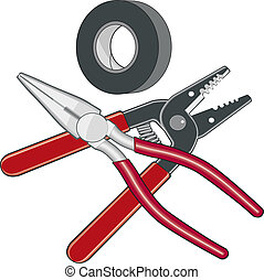 Electrician Tools Logo - Illustration of an...