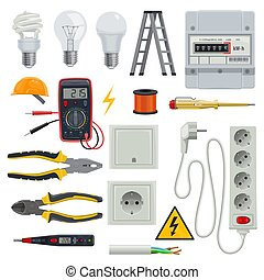 Set of professional electrician tools. Pliers for stripping wire or pliers, wire cutters and screwdrivers, multimeter or digital clamp meter, electrical tape. Electrician icons set vector: stairs, bulb, helmet, power socket, switch, electric meter.