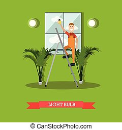 Electrician vector illustration in flat style