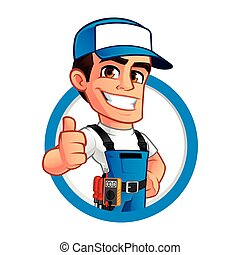 Electrician - Vector illustration of an electrician, he...