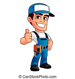 Electrician - Vector illustration of an electrician, he ...