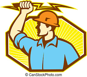 Electrician Wielding Lightning Bolt