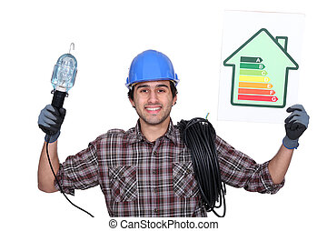 Electrician with a house energy rating sign