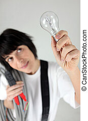 Electrician with a lightbulb