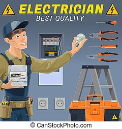 Electrician with electric equipment and tools