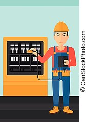 A man in helmet measuring the voltage output vector flat design illustration. Vertical layout.