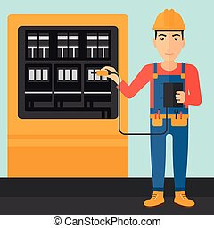 A man in helmet measuring the voltage output vector flat design illustration. Square layout.