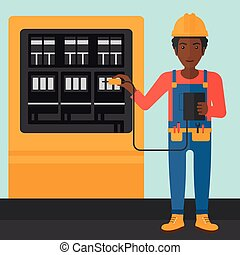 An african-american man in helmet measuring the voltage output vector flat design illustration. Square layout.