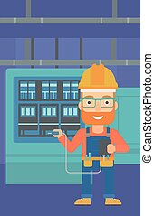Electrician with electrical equipment. - A hipster man in...