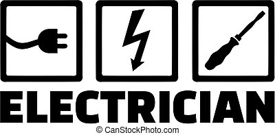 Electrician with icons plug, bolt and screwdriver