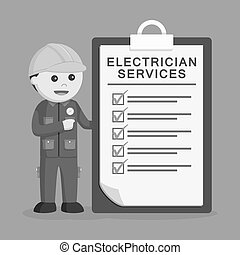 Electrician with service clipboard