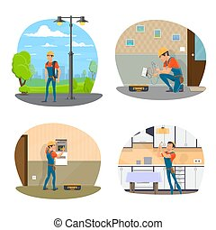 Electrician with tool icon of electrical service