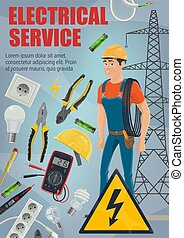 Electrician with tools. Equipment and service