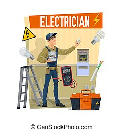 Electrician with tools, toolboox and equipment
