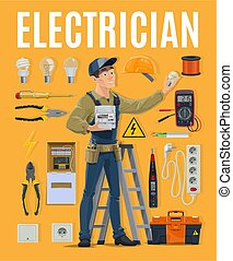 Electrician with work equipment, toolbox and tools