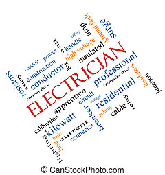 Electrician Word Cloud Concept Angled