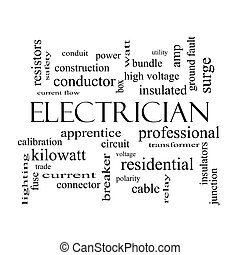 Electrician Word Cloud Concept in black and white