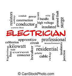 Electrician Word Cloud Concept in red caps