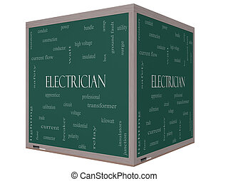 Electrician Word Cloud Concept on a 3D cube Blackboard
