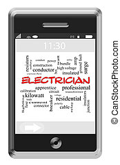 Electrician Word Cloud Concept on Touchscreen Phone