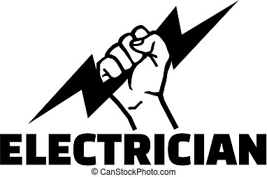 Electrician word with hand with bolt