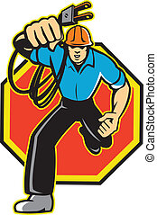 Electrician Worker Running Plug - Illustration of an...