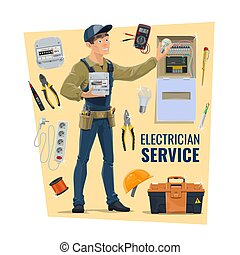 Electrician with tools, vector. Contractor, electrical service, supplies shop banner. Serviceman in uniform, tool belt and energy meter, toolbox, cable and extender, distribution board and light bulb
