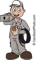 Electrician worker vector cartoon